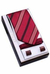 özel Hediye Seti Bordo Kırmızı Kravat Mendil Kol Düğmesi Os115