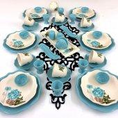 Keramika 44 Parça Turkuaz Gül Kahvaltı Takımı