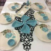 Turkuaz Gül 6 Kişilik Keramika Kahvaltı Takımı