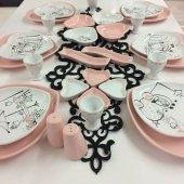 Keramika 6 Kişilik Pembe Aşk Kahvaltı Takımı
