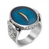 Mavi Mine Üzerine Elif Yazılı Gümüş Erkek Yüzük