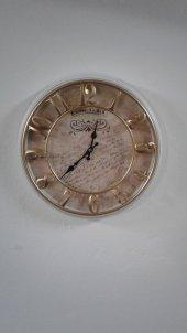 Time Gold Beyaz Çerçeve Doğa Duvar Saati Çap 40 Cm