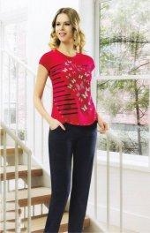 Birinci Kırmızı Kelebek Desenli Pamuklu Bayan Pijama Takımı