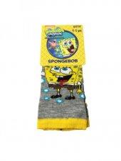 Spongebob Lisanslı Çoçuk Çorabı 4 5 Yaş Gri