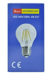 Benar A55 4w Led Filament Rustik Ampul (Sarı Işık) E27