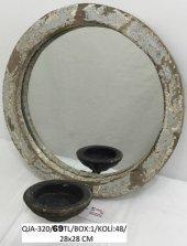 Eskitme Ahşap Metal Ayna Qja 320