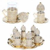 Swarovski Taşlı 6 Kişilik Çay Seti (Tepsi Ve Şekerlik Hediye) Gold