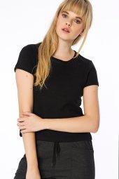 Kantabria Yakası Trikolu Siyah Basic Bluz