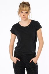 Caserta Cupra Görünümlü Siyah Basic Bluz
