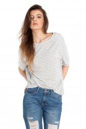Heidi Melanj Beyaz Çizgili Oversize Tişört