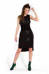 Abigail Baskılı Siyah Elbise