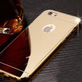 Gpack Apple İphone 7 Kılıf Aynalı Metal Bumper + Kırılmaz Cam