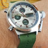 Ohsen Yeşil Kumaş Kordonlu Işıklı Erkek Kol Saati + Bileklik