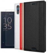 Sony Xperia Xz Kapaklı Elit Kılıf Nano Cam Hediye