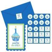 1 Yaş 8 Zarf+8 Davetiye+16 Sticker İngilizce Mavi Parti Kartı