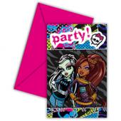 Monster High 6 Davetiye + 6 Zarf Doğum Günü Parti Kartı