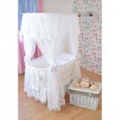 Bebekonfor Beyaz Fransız Dantelli Çatılı Beyaz Ahşap Sepet Beşik