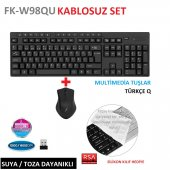 Frisby Fk W98qu Tek Nano Alıcılı Multimedia Kablosuz Klavye Mouse Set Koruyucu Silikon Kılıf Hediyeli