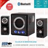Frisby Fs 2500bt Kablosuz Usb Sd Aux Bluetooth Ahşap 2+1 Ses Sistemi Hoparlör Speaker