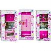 Kız Çocuk Oyuncakları 3lü Sesli Işıklı Mutfak Dolabı Seti 3in 1