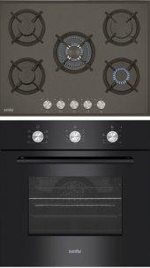 Simfer İkili Ankastre Set (7062 Fırın+3701 Cam 5 Gözlü Ocak)