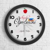 Kişiye Özel Mesleki Sınıf Öğretmeni Ahşap Duvar Saati 6