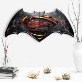 Batman Ve Superman Tasarımlı Dekoratif Ahşap Duvar Saati 2