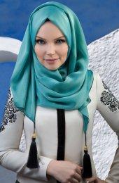 Tesettur7 Muslima Wear Püsküllü Şal 34001 Antik Mavi