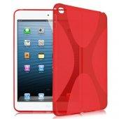 Ipad Pro 12.9 X Line Tasarım Silikon Kılıf Kırmızı