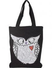 Ve Tasarım Kot Siyah Renk Beyaz Baykuş Baskılı Çanta
