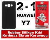 Huawei Y7 Rubber Lüks Silikon Kılıf+kırılmaz Cam Ekran Koruyucu