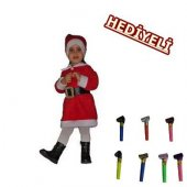 Kız Çocuk Noel Anne Kostümü+1 Adet Kaynana Dili Hediyelidir
