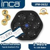 ınca 100 Türk Tasarımlı 6lı Oval Akım Korumalı Işıklı Priz 2metre Siyah