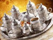 Osmanlı Motifli 6 Kişilik Türk Kahve Seti Gümüş