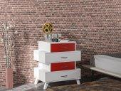Evdemo Ae 1073 Diamont Şifonyer Beyaz Kırmızı