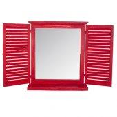 Home Stuff Kırmızı Ahşap Panjur Ayna 56x12x63 Cm