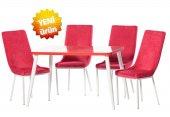 Teknoset Silver Serisi Kırmızı Mutfak Masa Sandalye Takımı