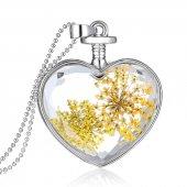 Frilly Kuru Çiçek Kalp Kolye (Fkk104r)