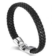 Frilly Metal Deri Siyah Bileklik (Fkba145)