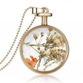 Frilly Cam Çerçeve Kuru Çiçek Kolye (Fkk1088b1)