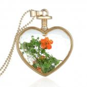 Frilly Cam Çerçeve Kuru Çiçek Kalp Kolye (Fkk1088bb)