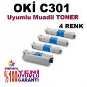 Oki C301, C321 Uyumlu 4 Renk Muadil Toner