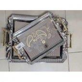 Kararmaz Gümüş Kaplama Gold Parlak 2 Li Tepsi Seti Nişan Tepsisi Çay Tepsisi (