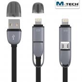 M Tech Mtlc0015 2 Si 1 Arada Lightning & Micro Usb Şarj Ve Data Kablosu, Siyah, 1m