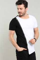 Boydan Fermuarlı Beyaz Erkek Tshirt