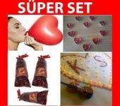 Evlilik Teklifi 1000 Kuru Gül Yaprağı 10 Kalp Mum 10 Kalpli Balon