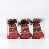 3lü Lux Köpük Çan Yılbaşı Ağacı Süsü Kırmızı
