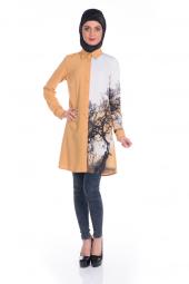 Modaverda Bayan Dijital Baskılı Tunik Hardal Renk