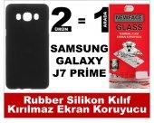 Samsung J7 Prime Rubber Lüks Silikon Kılıf+kırılmaz Cam Ekran Kor
