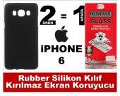 Iphone 6 Rubber Lüks Silikon Kılıf+kırılmaz Cam Ekran Koruyucu